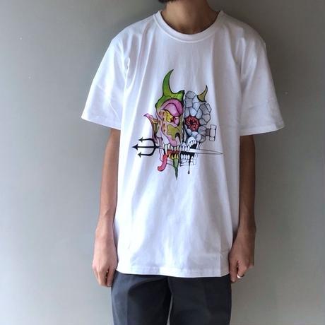 WACKO MARIA x WOLF'S HEAD / OVER SIZE CREW NECK T-SHIRT (white)