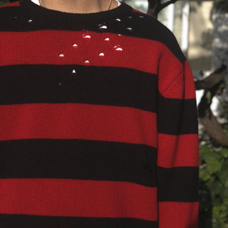 THREE FACE / damage border knit (red×black)