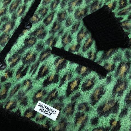WACKO MARIA / Leopard mohair cardigan (green)