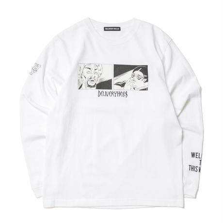 """Delivery Hells """"ADULT L/S tee"""" (white)"""