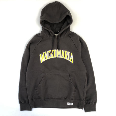 WACKO MARIA/ WASHED HEAVY WEIGHT PULLOVER HOODED SWEAT SHIRT (black)