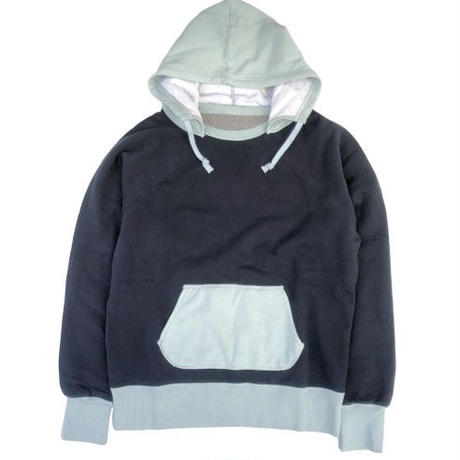 "THREE FACE "" two tone after hoodie"" (black× L.blue)"