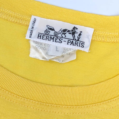 "HERMES /  Embroidery S/S T-shirt ""elephant"" (yellow) (spice)"