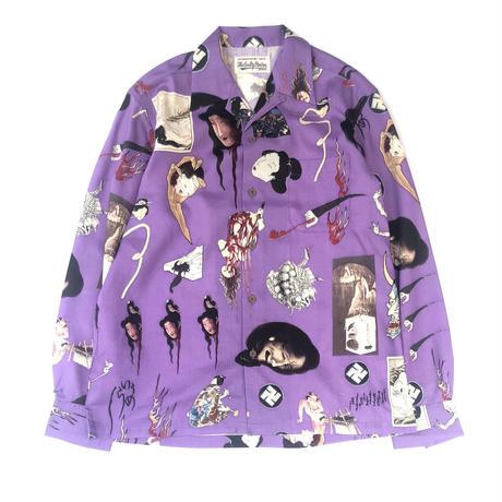 WACKO MARIA  / Hawaiian Shirt  L/S  (TYPE-2 ) (purple)