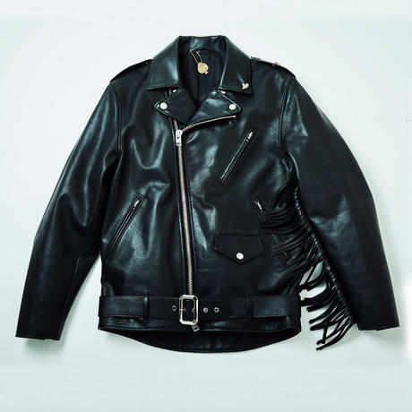 "FRT / ""ONE LOVE""  FRINGE W-RIDERS JACKET (black × brass)"