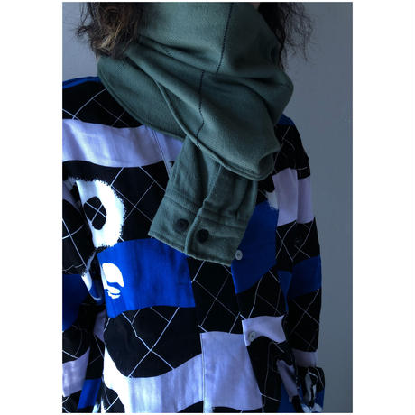PHINGERIN / Sleeve Scarf Space Plaid Nel (green)