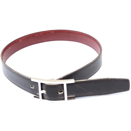 "HERMES(マルジェラ期)。 / Leather Belt ""Quentin"" (black)"