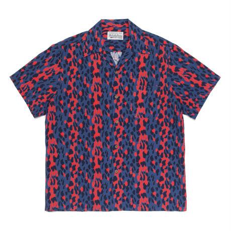 WACKO MARIA   / Leopard Open Collar Shirt (blue )