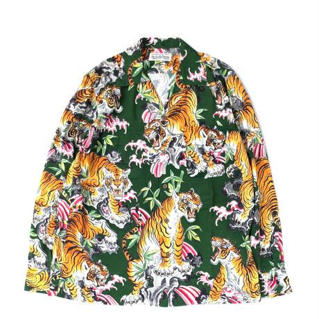 """WACKO MARIA  / """"TIM LEHI"""" L/S Hawaiian Shirt (green)"""