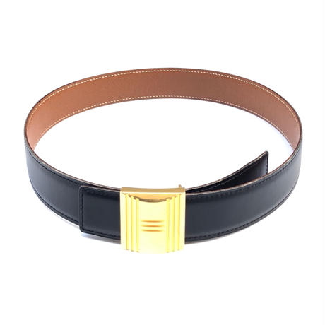 HERMES / Gold Cadene Buckle and Reversible Leather Belt