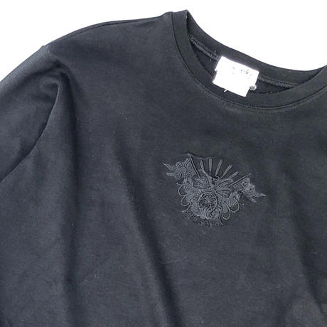 HERMES /  Embroidery L/S T-shirt (black) (spice)