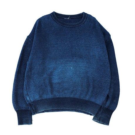 80-90's Indigo cotton knit sweater  (spice)