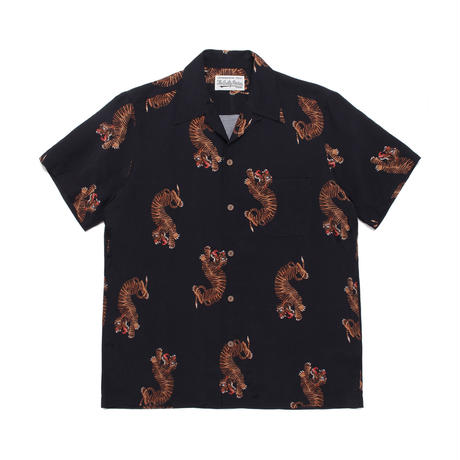 WACKO MARIA  HAWAIIAN SHIRT S/S ( TYPE-2 ) (black)