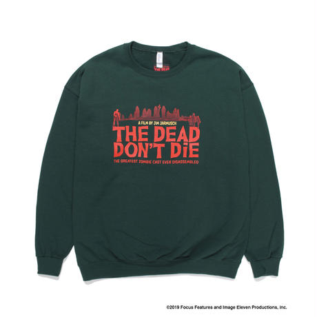 "WACKO MARIA ""JIM JARMUSCH"" 「THE DEAD DON'T DIE」CREW NECK SWEAT SHIRT ( TYPE-6 )(green)"