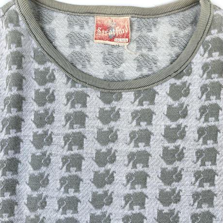 """60-70's """"elephant"""" Jacquard Tee (spice) #A1"""