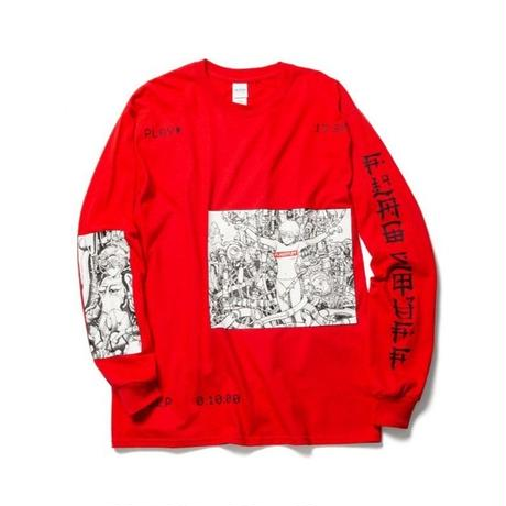 "F-LAGSTUF-F x VIDEO GIRL (電影少女) / ""PLAY"" L/S Tee (red)"