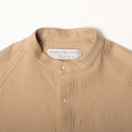 AXESQUIN ELEMENTS WOOL COTTON BAND COLLAR SHIRT