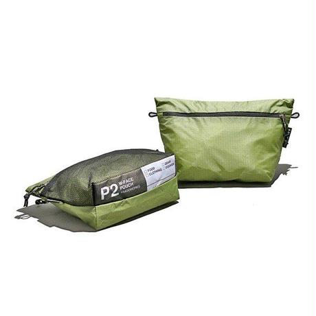 【DM便180円】PaaGo WORKS|W-FACE POUCH 2 モスグリーン
