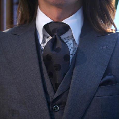 Oguri Original ネクタイ&ポケットチーフ 水玉 グレー×黒