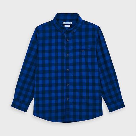 Mayoral(マヨラル)キッズ ボタンダウンチェックシャツ/ブルー×ブラック