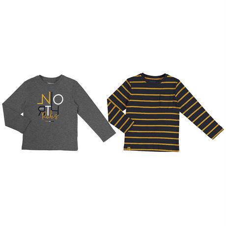 Mayoral(マヨラル)キッズ アルファベットTシャツ+ボーダーTシャツセット/グレー×ネイビー