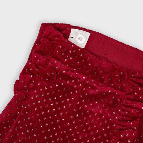 Mayoral(マヨラル)キッズ 襟リボンパール付Tシャツ+ボタン付きラメショートパンツセット/レッド