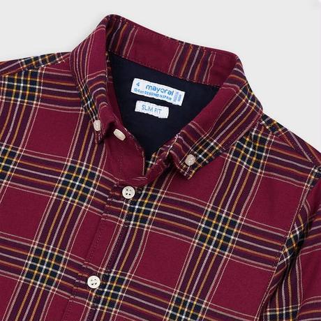 Mayoral(マヨラル)キッズ ボタンダウンチェックシャツ/エンジ×ネイビー