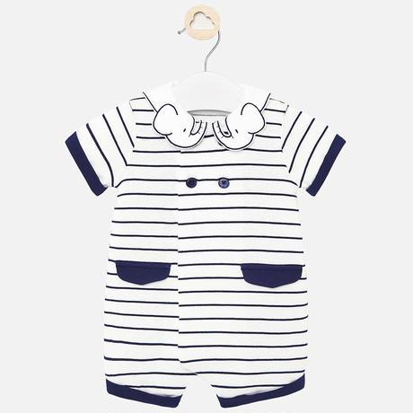Mayoral(マヨラル)ベビー ゾウさんの襟のロンパース/ホワイト×ネイビー