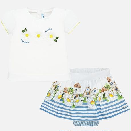Mayoral(マヨラル)お花刺繍Tシャツ+ボーダーおうち柄スカートセット
