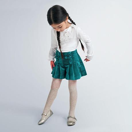 Mayoral(マヨラル)キッズ 襟リボンパール付Tシャツ+ボタン付きコピラメショートパンツセット/エメラルドグリーン