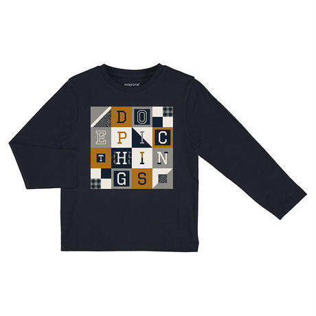 Mayoral(マヨラル)キッズ 丸首アルファベットスクエアープリントTシャツ/ネイビー