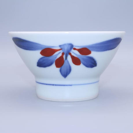 砥部焼 くらわんか茶碗(小) 梅山窯 ゴス赤菊