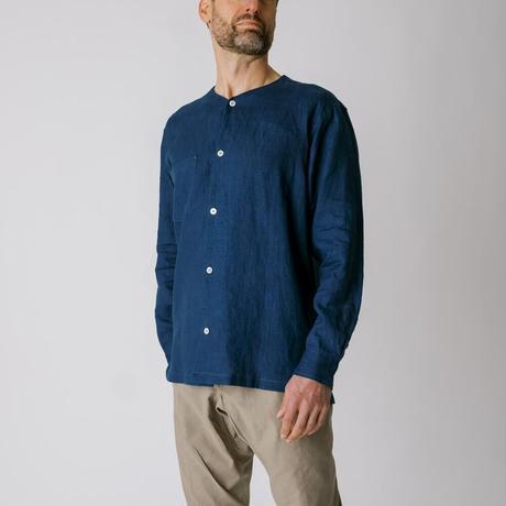 [ノーカラーシャツ]リネン / 藍 《メンズ》
