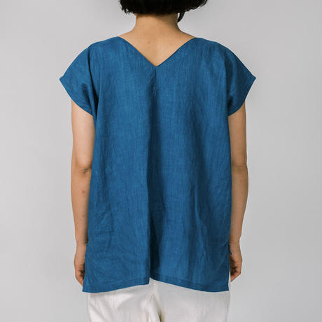 [Vネックシャツ]リネン / 藍染