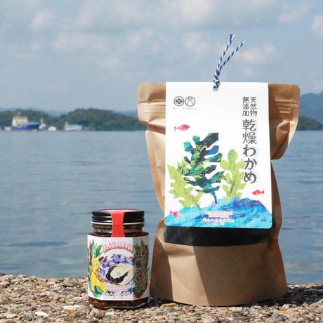 【父の日ギフト・オリジナルサンクスカード付】乾燥わかめ・牡蠣漁師が作った牡蠣ラー油セット