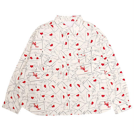 OK213-801-3 (LOVE LETTERS)Total Pattern FISHING SHIRTS