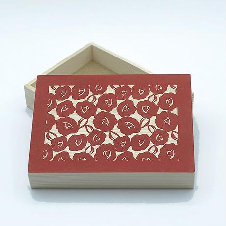 伊勢型紙の文庫箱 【椿-camellia-】緋-red-