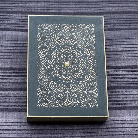 伊勢型紙x伊勢真珠の文庫箱【メダリオン】藍色-BLUE