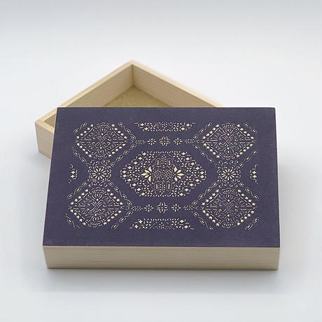 伊勢型紙の文庫箱 【八角縁起-fortune octagon-】京紫-purple-
