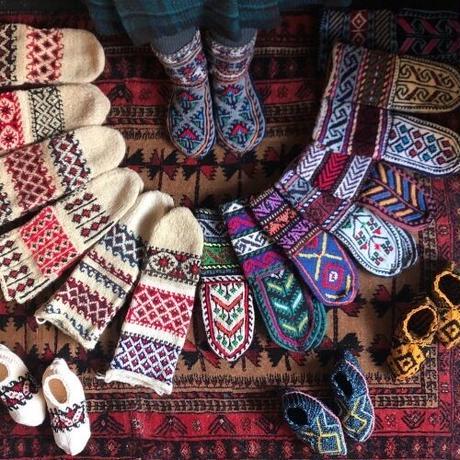 イランの手編み靴下 親子セット / オレンジ×ブルー