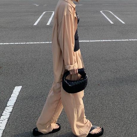 new リラックスサテンセットアップblack,camel