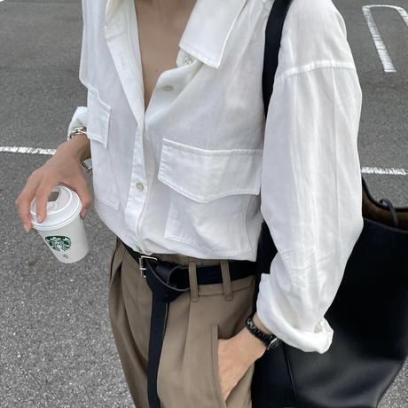 コットンWポケットシャツ(white,black)