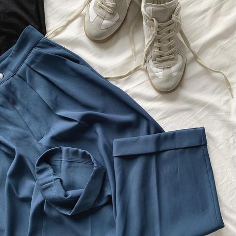 タックカラーパンツdark blue