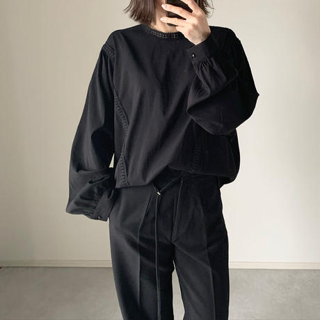 ボンボンレースブラウスecru,black