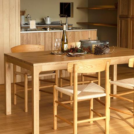 【WOODONE】無垢のテーブル L colナラ(筋有り)TFTF200R-F