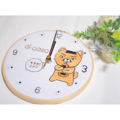 そうかニャン刺繍壁掛け時計 S①