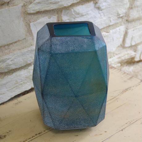 Dough blue geomatric glass vase high L 675425