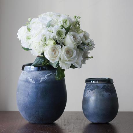 Mersh smoky black round glass vase M 672799