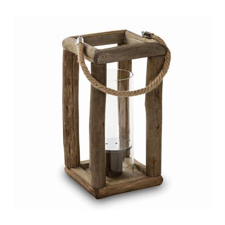 Houston brown wood lantern glass square 662188