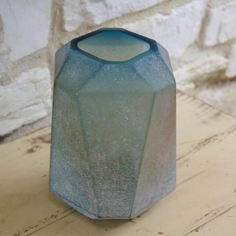 Dough blue geomatric glass vase high S 675424